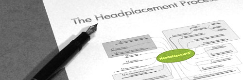 Füllfeder mit Mind-Map des Headplacement-Prozesses